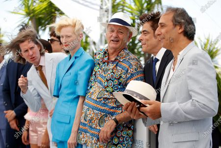 Wes Anderson, Tilda Swinton, Bill Murray, Benicio Del Toro and Alexandre Desplat pose during the photocall for 'The French Dispatch' at the 74th annual Cannes Film Festival, in Cannes, France, 13 July 2021. The movie is presented in the Official Competition of the festival which runs from 06 to 17 July.
