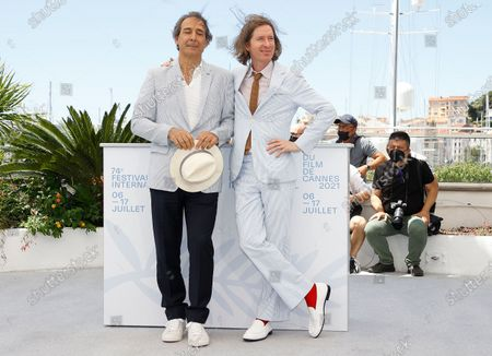 Alexandre Desplat (L) and Wes Anderson pose during the photocall for 'The French Dispatch' at the 74th annual Cannes Film Festival, in Cannes, France, 13 July 2021. The movie is presented in the Official Competition of the festival which runs from 06 to 17 July.