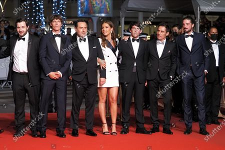 """Karim Leklou, Cedric Jimenez, Gilles Lellouche, Adele Exarchopoulos, Hugo Selignac, Cyril Lecomte and Vincent Darmuzey attending the """"Bac Nord"""" Red Carpet during the 74th annual Cannes Film Festival on July 12, 2021 in Cannes, France."""