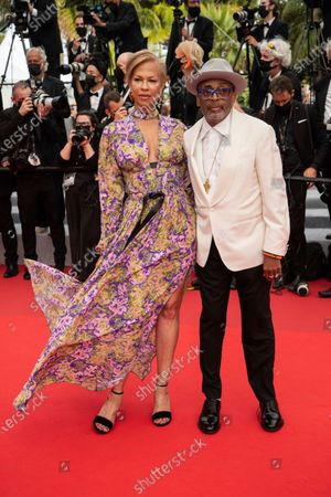 Spike Lee and Tonya Lewis pose for photographers upon arrival at the premiere of the film 'The French Dispatch' at the 74th international film festival, Cannes, southern France