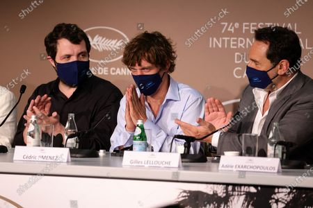 Karim Leklou, Cedric Jimenez, Gilles Lellouche attend the press conference for 'Bac Nord' during the 74th annual Cannes Film Festival, in Cannes, France, 13 July 2021. The festival runs from 06 to 17 July.