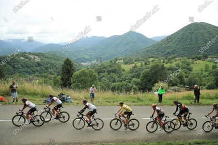 (L-R) Riders of the UAE-Team Emirates, Polish rider Rafal Majka, Portuguese rider Rui Costa, US rider Brandon Mcnulty, Yellow Jersey Slovenian rider Tadej Pogacar, Swiss rider Marc Hirschi with Riders of the Jumbo Visma team, Belgian rider Wout Van Aert and Dutch rider Mike Teunissen in action during the 16th stage of the Tour de France 2021 over 169 km from Pas de la Case to Saint Gaudens, France, 13 July 2021.