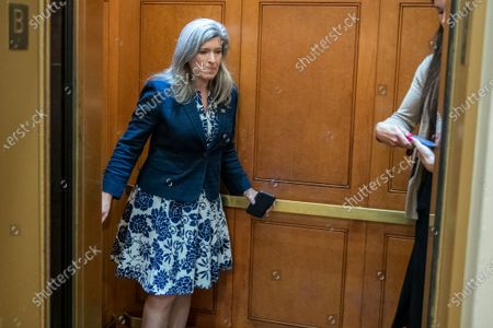 US Republican Senator from Iowa Joni Ernst boards an elevator after exiting the Senate subway in the US Capitol in Washington, DC, USA, 13 July 2021. The Senate returns to work on two large infrastructure bills that have been in negotiations for months. Senate Majority Leader Chuck Schumer has said the Senate will work nights, weekends and into the August recess if necessary to get the bills to a vote.