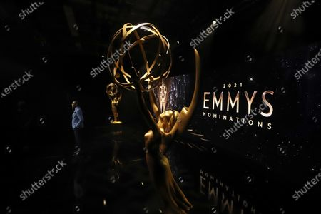 An Emmy statuette is seen as Ron Cephas Jones (in Los Angeles) and Jasmine Cephas Jones (from New York), not pictured, announce the nominated programs and performers for the 73rd Emmy Awards via live streaming on Emmys.com from ShowPro Live Studios on in Los Angeles