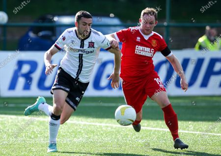 Newtown AFC vs Dundalk. Michael Duffy of Dundalk with Craig Williams of Newtown