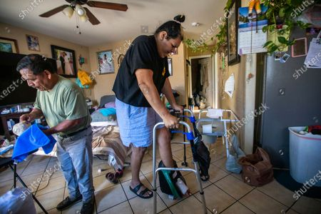 Editorial photo of Sandy Vazquez, is a diabetic and he has had foot surgery. She is a patient of Dr. Hall at Martin Luther King Jr. Community Hospital in Willowbrook. She is transgender, Los Angeles, California, United States - 21 Jun 2021