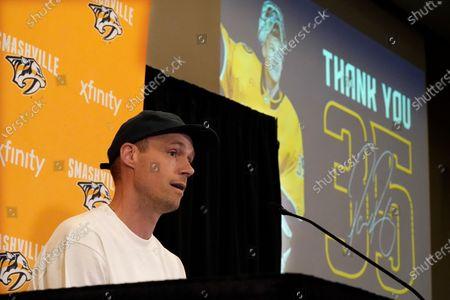 Nashville Predators goalie Pekka Rinne announces his retirement, in Nashville, Tenn. Rinne, the 2018 NHL hockey Vezina Trophy winner, spent all of his 15 seasons with the Predators