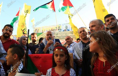 Stock Photo of Senior Fatah official Jibril Rajoub speaks during a rally in support of president Mahmoud Abbas in the West Bank city of Jenin, on July 13, 2021.