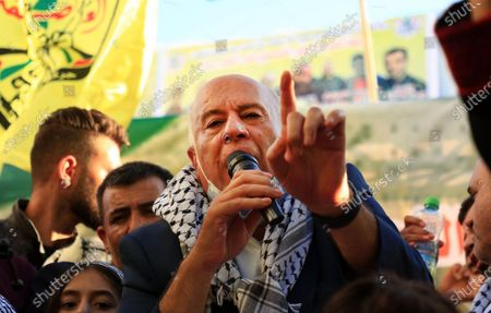 Senior Fatah official Jibril Rajoub speaks during a rally in support of president Mahmoud Abbas in the West Bank city of Jenin, on July 13, 2021.