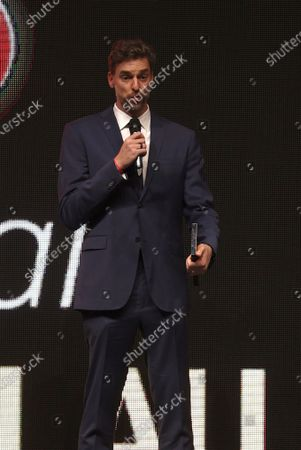 Barcelona's center Pau Gasol poses with the 'Special' trophy during the 2nd Spanish Basketball Gala organized by the Spanish Royal Basketball Federation (FEB) and Spanish sports newspaper 'Marca', in Madrid, central Spain, 13 July 2021.