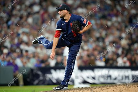 Stock Photo of American League's Matt Barnes, of the Boston Red Sox, throws during the eighth inning of the MLB All-Star baseball game, in Denver