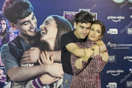 Stock Image of Alex Monner and Marina Salas attend 'Cover' photocall at Universal Music in Madrid on July 13, 2021. Spain