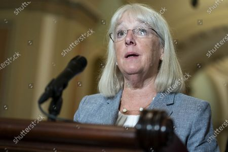 Senate Patty Murray (D-WA) speaks at a news conference with Democratic leadership following the weekly Democratic caucus luncheon at the U.S. Capitol in Washington, DC on Tuesday, July 13, 2021.