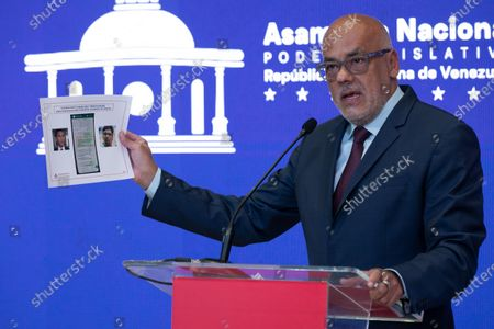 The President of the National Assembly of Venezuela, Jorge Rodriguez, shows alleged evidence against opposition leaders Freddy Guevara and Gilber Caro during a press conference at the Federal Legislative Palace in Caracas, Venezuela, 13 July 2021. Rodriguez denounced this 13 July that there was a failed attempt to assassinate President Nicolas Maduro 'with drones' on 22 June 2021, when he inaugurated a monument for the bicentennial of the Battle of Carabobo, key in the War of Independence. He explained that the 'four drones were deactivated by our intelligence services.' Although he said he did not want to anticipate the investigations, he again accused Colombia of being behind these plans.