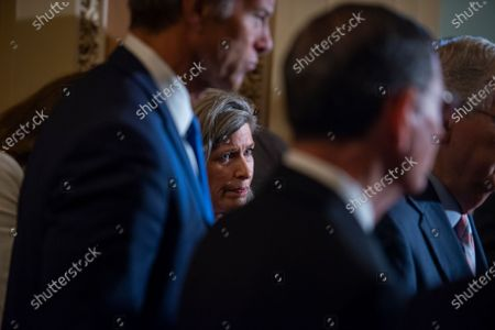 United States Senator Joni Ernst (Republican of Iowa) attends a press conference following the Senate GOP luncheon at the US Capitol in Washington, DC,.