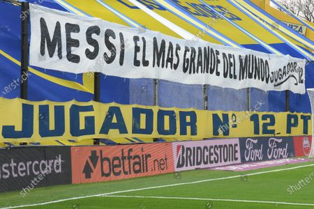 Picture of a banner congratulating and supporting Argentine soccer player Lionel Messi that reads 'The Greatest of the world', prior to the match between Boca Juniors and Atletico Mineiro for the round of 16 of the Copa Libertadores 2021, at the Alberto J. Armando 'La Bombonera' Stadium in Buenos Aires, Argentina, 13 July 2021.