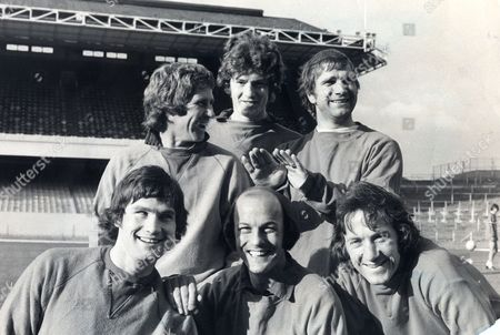 Arsenal Football Club Team Group 1974 Terry Mancini (centre) Alan Ball Brian Kidd Eddie Kelly Pat Rice And George Armstrong.