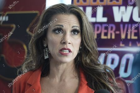 """Stock Picture of NWA Professional Wrestler Mickie James announcing talks with reporters after it was announced that the National Wrestling Alliance (NWA) will be bringing professional wrestling back to the Chase Park Plaza, in St. Louis on Tuesday, July 13, 2021. """"Wrestling At The Chase,"""" a weekly wrestling television show in the 1960's and 1970's, brought some of the early superstar wrestlers to St. Louis, becoming one of the top local television shows in St. Louis history."""