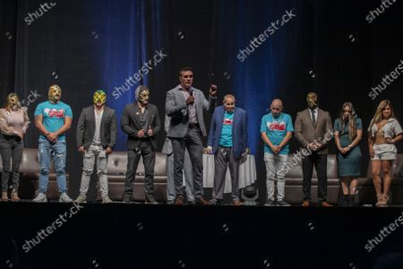 Wrestlers Dos Caras Jr, Dos Caras, Cinta de Oro, Reina de Chocolate, Diosa Quetzal and Alberto del Rio and   Fernando Robles during a press conference to promote 'Made in Mexico' wrestling event by Robles Patron Promotions, with the participation of international wrestlers and legends at the Pepsi Center on July 13, 2021 in Mexico City, Mexico.