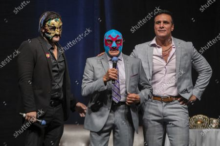 Wrestlers Dos Caras Jr, Dos Caras and Alberto del Rio  during a press conference to promote 'Made in Mexico' wrestling event by Robles Patron Promotions, with the participation of international wrestlers and legends at the Pepsi Center on July 13, 2021 in Mexico City, Mexico.