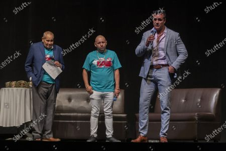 Arturo Rivera, Fernando Robles and Alberto del Rio  during a press conference to promote 'Made in Mexico' wrestling event by Robles Patron Promotions, with the participation of international wrestlers and legends at the Pepsi Center on July 13, 2021 in Mexico City, Mexico.