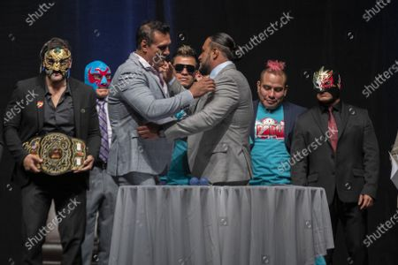 Wrestler Texano Jr and Alberto del Rio during a press conference to promote 'Made in Mexico' wrestling event by Robles Patron Promotions, with the participation of international wrestlers and legends at the Pepsi Center on July 13, 2021 in Mexico City, Mexico.