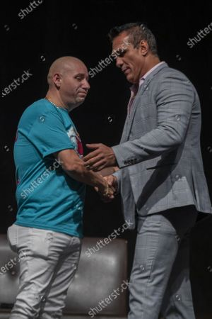Fernando Robles and Alberto del Rio  during a press conference to promote 'Made in Mexico' wrestling event by Robles Patron Promotions, with the participation of international wrestlers and legends at the Pepsi Center on July 13, 2021 in Mexico City, Mexico.