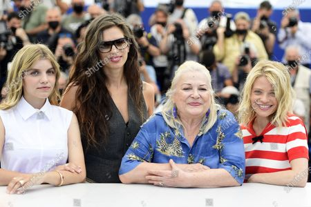 Galatea Bellugi, Maiwenn, Josiane Balasko and Melanie Thierry pose during the photocall for 'Tralala' at the 74th annual Cannes Film Festival, in Cannes, France, 14 July 2021. The festival runs from 06 to 17 July.
