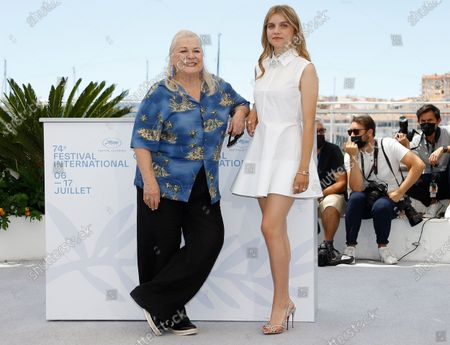 Josiane Balasko (L) and Galatea Bellugi pose during the photocall for 'Tralala' at the 74th annual Cannes Film Festival, in Cannes, France, 14 July 2021. The festival runs from 06 to 17 July.