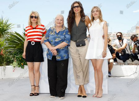 Melanie Thierry, Josiane Balasko, Maiwenn and Galatea Bellugi pose during the photocall for 'Tralala' at the 74th annual Cannes Film Festival, in Cannes, France, 14 July 2021. The festival runs from 06 to 17 July.