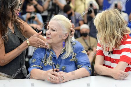 Maiwenn, Josiane Balasko and Melanie Thierry pose during the photocall for 'Tralala' at the 74th annual Cannes Film Festival, in Cannes, France, 14 July 2021. The festival runs from 06 to 17 July.
