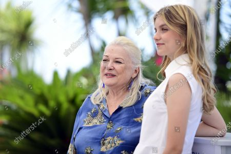 Galatea Bellugi (R) and Josiane Balasko (L) pose during the photocall for 'Tralala' at the 74th annual Cannes Film Festival, in Cannes, France, 14 July 2021. The festival runs from 06 to 17 July.