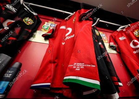 Castle Lager Lions Series South Africa 2021, Cape Town Stadium, Cape Town, South Africa 14/7/2021. South Africa A vs British & Irish Lions. A view of British & Irish Lion Iain Henderson's jersey ahead of the game