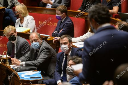 Stock Photo of French Minister of State for Relations with Parliament Marc Fesneau, French Justice Minister Eric Dupond-Moretti and French Health and Social Affairs Minister Olivier Veran