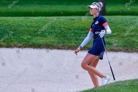 Nelly Korda of the US on the second hole during the first round of the Dow Great Lakes Bay Invitational women's golf tournament at the Midland Country Club in Midland, Michigan, USA, 14 July 2021.