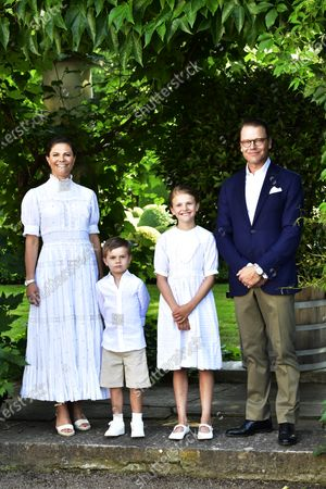 Crown Princess Victoria, Prince Oscar, Princess Estelle, and Prince Daniel during Crown Princess Victoria's birthday celebrations at Solliden Palace in Borgholm