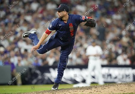 Stock Picture of American League relief pitcher Matt Barnes of the Boston Red Sox works during the eighth inning of Major League Baseball's All-Star Game, in Denver