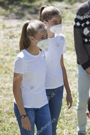 Princess Leonor of Spain and Infanta Sofia attend the event '#Unarbolporeuropa' on July 14, 2021 in Hayedo de Montejo, Spain.