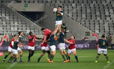 Franco Mostert - South Africa 'A' lock (5) wins a lineout against Iain Henderson.