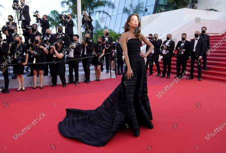 Stock Image of Elen Capri poses for photographers upon arrival at the premiere of the film 'The Story of My Wife' at the 74th international film festival, Cannes, southern France
