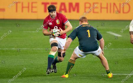 Iain Henderson of British & Irish Lions  & Steven Kitshoff of South Africa
