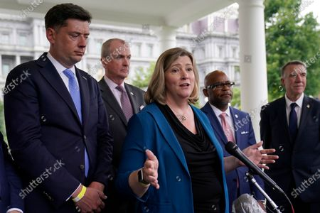 Stock Picture of Dayton (Ohio)Mayor Nan Whaley, center, talks to reporters outside the West Wing of the White House in Washington, following a meeting with President Joe Biden to discuss the bipartisan infrastructure deal in the Senate. She is joined by, from left, Oklahoma City Mayor David Holt, New Jersey Gov. Phil Murphy, Denver Mayor Michael Hancock and Vermont Gov. Phil Scott