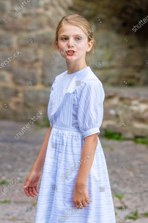 Princess Estelle during the festivities for the Crown Princess her 44th birthday at Borgholm's castle ruin, in Borgholm, Oland in Sweden.