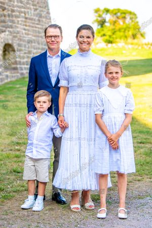 Crown Princess Victoria and Prince Daniel with Princess Estelle, Prince Oscar during the festivities for the Crown Princess her 44th birthday at Borgholm's castle ruin, in Borgholm, Oland in Sweden.