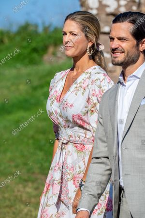 Prince Carl Philip and Princess Madeleine during the festivities for the Crown Princess her 44th birthday at Borgholm's castle ruin, in Borgholm, Oland in Sweden.