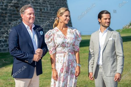 Prince Carl Philip and Princess Madeleine with Christopher O'Neill during the festivities for the Crown Princess her 44th birthday at Borgholm's castle ruin, in Borgholm, Oland in Sweden.