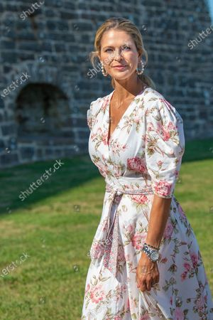 Stock Image of Princess Madeleine during the festivities for the Crown Princess her 44th birthday at Borgholm's castle ruin, in Borgholm, Oland in Sweden.