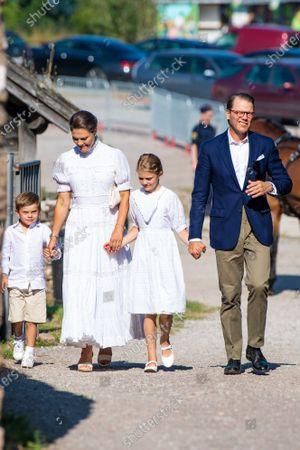 Stock Photo of Crown Princess Victoria and Prince Daniel with Princess Estelle, Prince Oscar