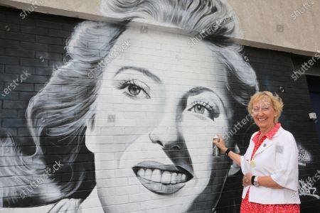 New mural of Dame Vera Lynn in East Ham London, where she was born unveiled by her daughter Virginia painted by Gnasher for Murwalls