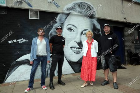 Stock Picture of New mural of Dame Vera Lynn in East Ham London, where she was born unveiled by her daughter Virginia painted by Gnasher for Murwalls